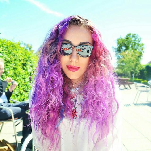 Curly Purple Hair on Fashion Blogger