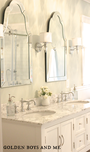 carrera, lowes arch mirror, beverly vanity, waterton sconces- www.goldenboysandme.com
