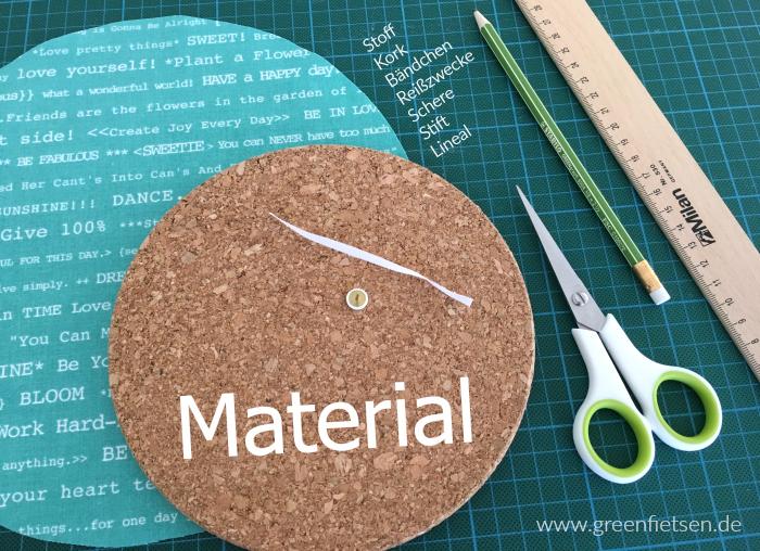DIY-Tutorial | Pinnwand aus Kork und Stoff - Material