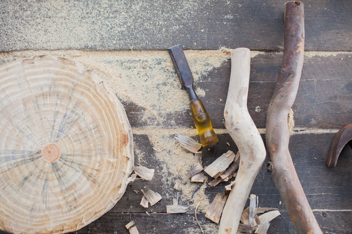 making timber natural stool