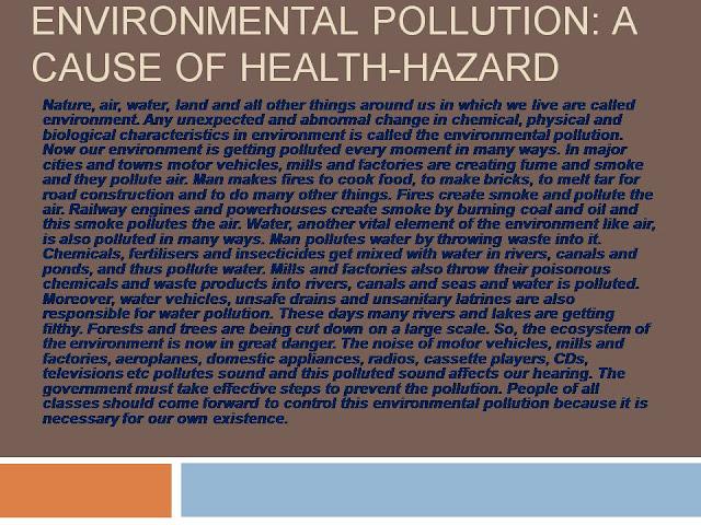 Environmental Pollution: A cause of health-hazard