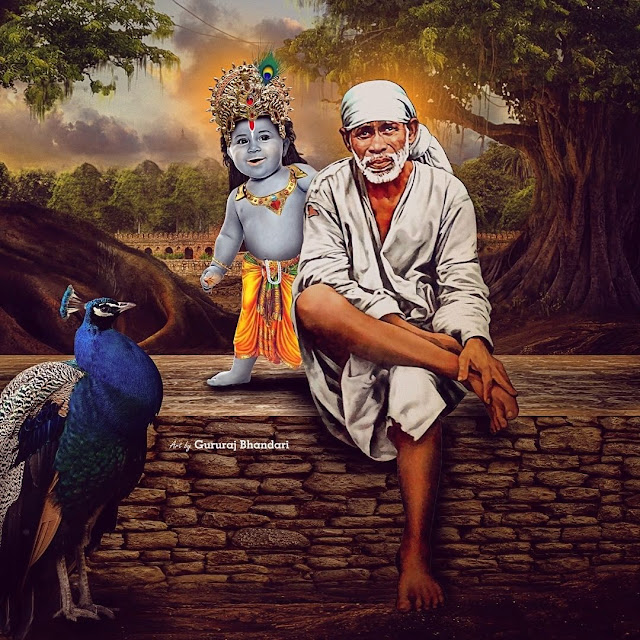 White Color Clothes wear Sai baba in krishan this images