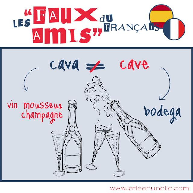 cave, cava, français, espagnol, faux-amis, FLE, le FLE en un 'clic'