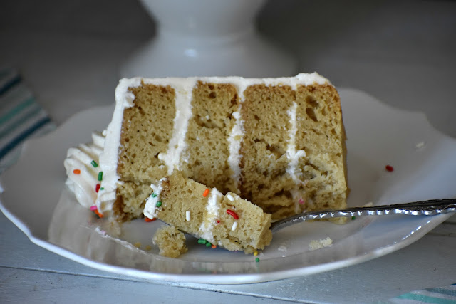 slice of cake with a bite on a fork
