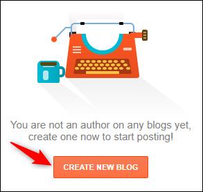 """زر """"إنشاء مدونة جديدة"""" في Blogger."""