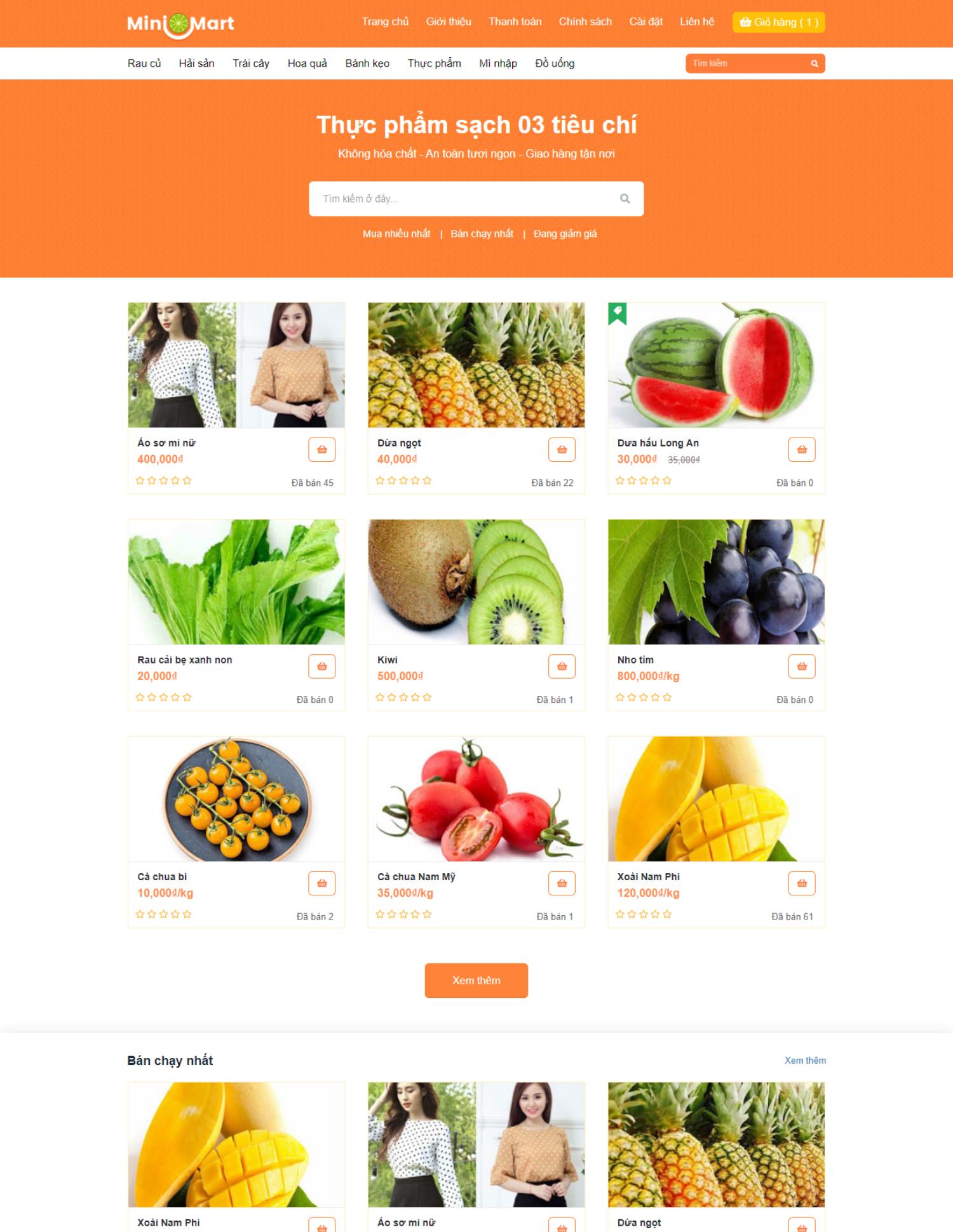 Theme blogspot bán hàng thực phẩm sạch (VSM33)