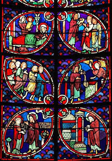 Vitral de São Zacarias, na catedral de Bourges, França