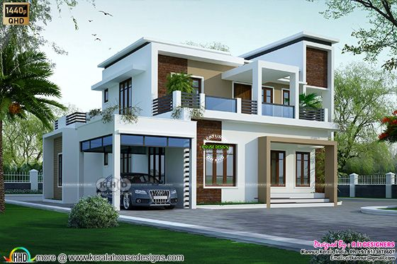 Modern flat roof style house 2049 square feet