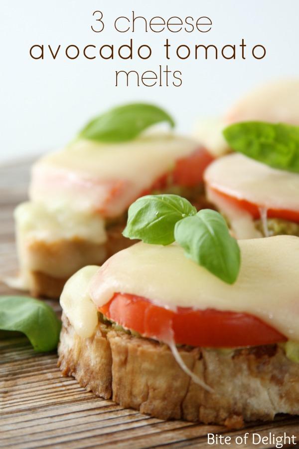 3 cheese avocado tomato melts | easy recipe