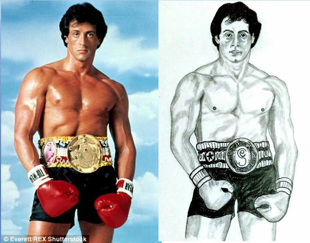 PENCIL DRAWING - ACTOR SYLVESTER STALLONE
