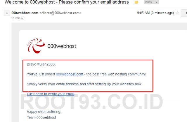 konfirmasi email dari 000webhost