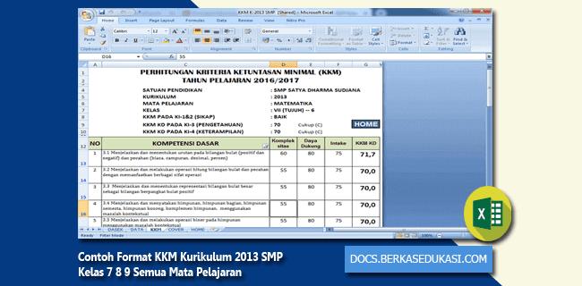 Contoh Format KKM Kurikulum 2013 SMP Kelas 7 8 9 Semua Mata Pelajaran