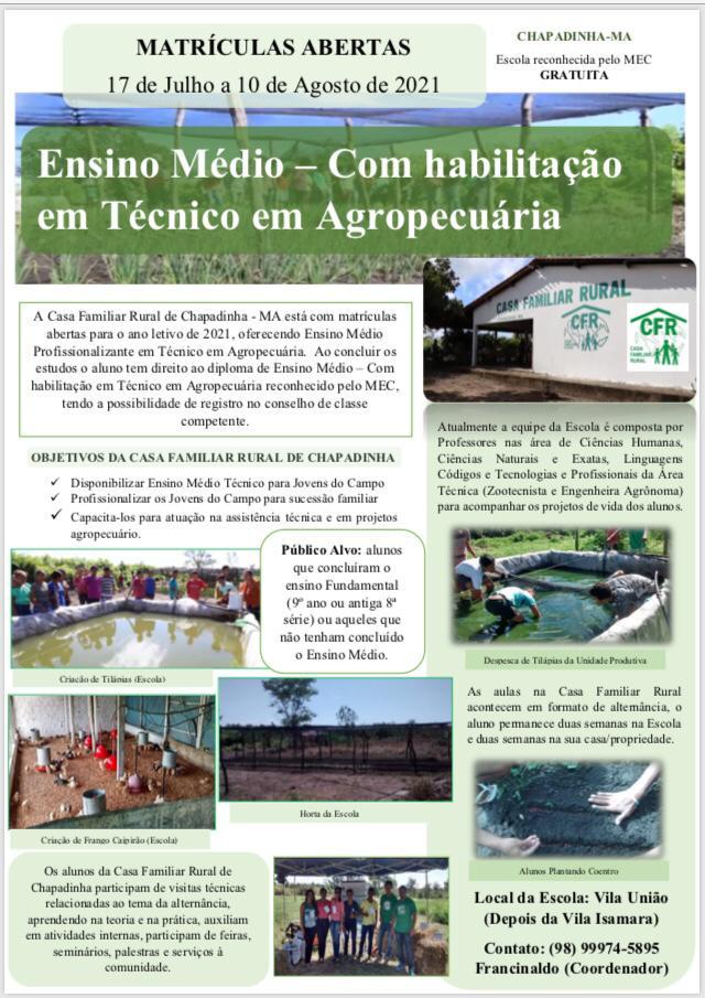 A Casa Familiar Rural de Chapadinha - MA está com matrículas abertas para o ano letivo de 2021