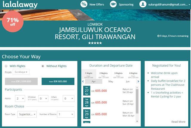 Liburan ke Lombok booking lewat Lalalaway. Source: Lalalaway.com