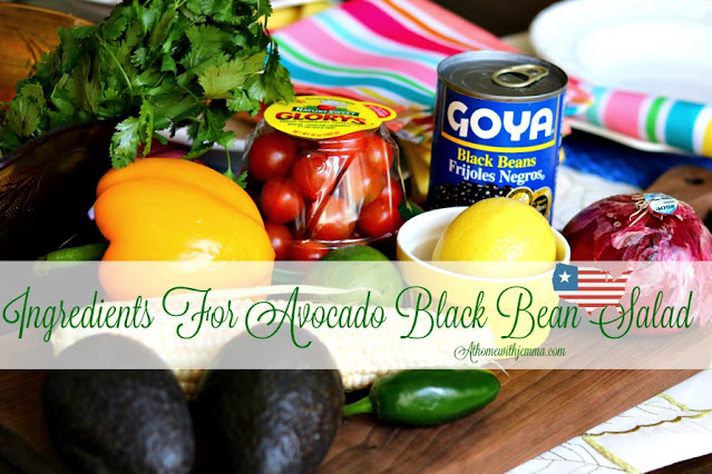 Ingredients For Easy and Fresh Summer Avocado Black Bean Salad With Lime Dressing