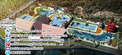 Desain Arsitektur Kolam Renang - Tampak Depan