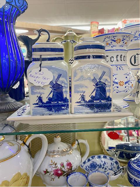 Delft set $14.95 thrift store shelf display