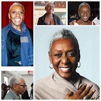 Bethann Hardison (mulher negra famosa - modelo - com cabelos naturais brancos - grisalhos)