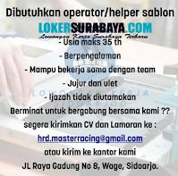 Info Loker Sidoarjo di Master Racing Oktober 2020