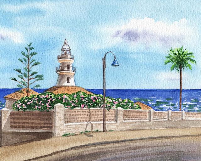 Faro de Cullera Lighthouse Valencia Spain watercolor painting by Irina Sztukowski