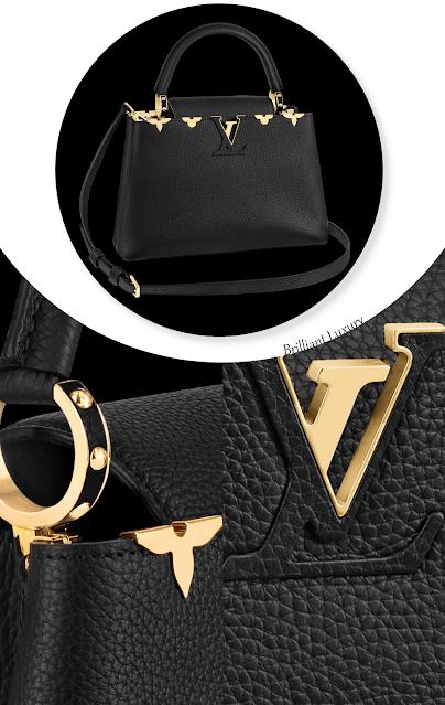 Louis Vuitton Capucines PM bag in black with gold metallic Monogram flowers #brilliantluxury