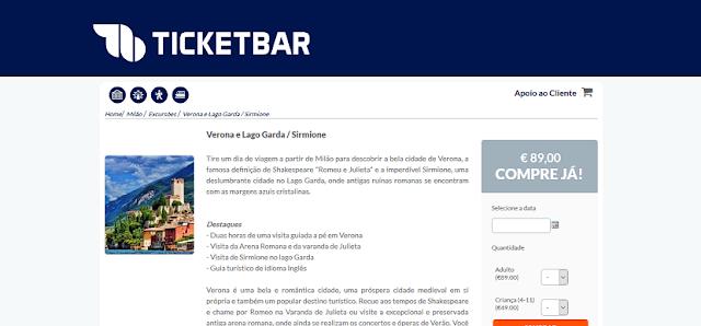 Ticketbar para ingressos para passeios nas redondezas de Milão