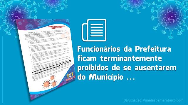 Prefeitura de Panelas decreta estado de emergência e proibe funcionários de sair do município