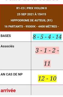 Pronostic quinté+ pmu samedi Paris-Turf TV-100 % 25/09/2021