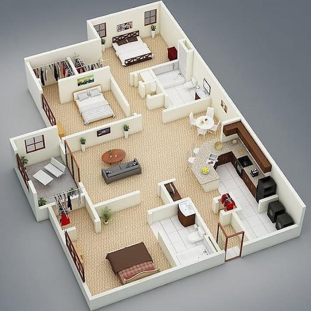 Denah Rumah Minimalis 3 Kamar Memanjang Terbaru