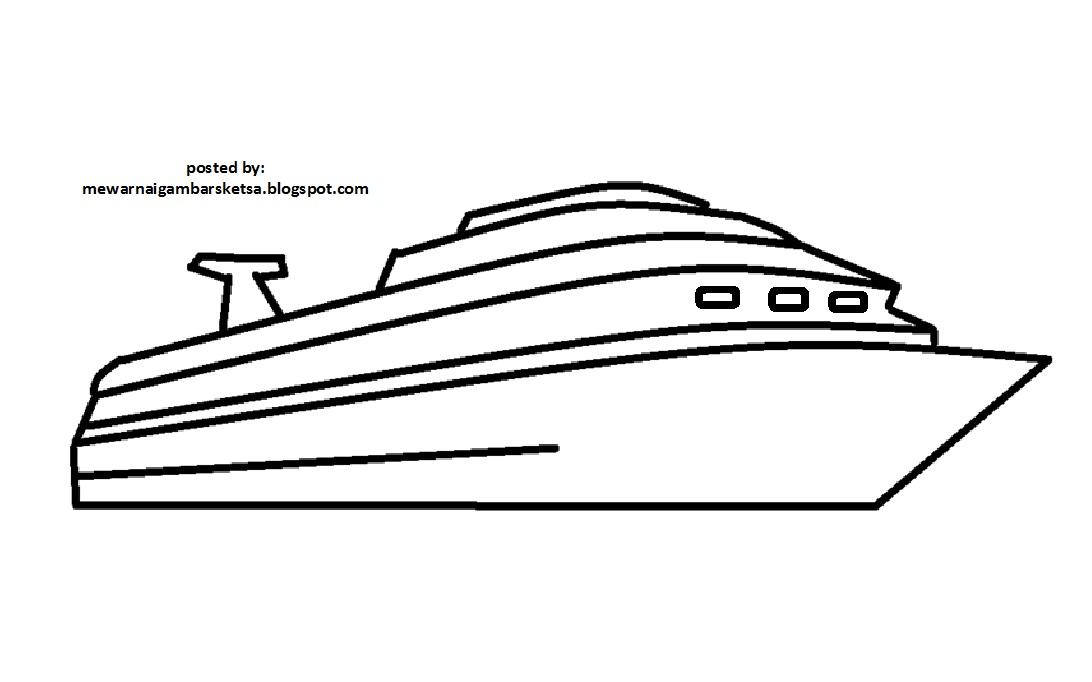 Mewarnai Gambar Mewarnai Gambar Sketsa Transportasi Kapal 4