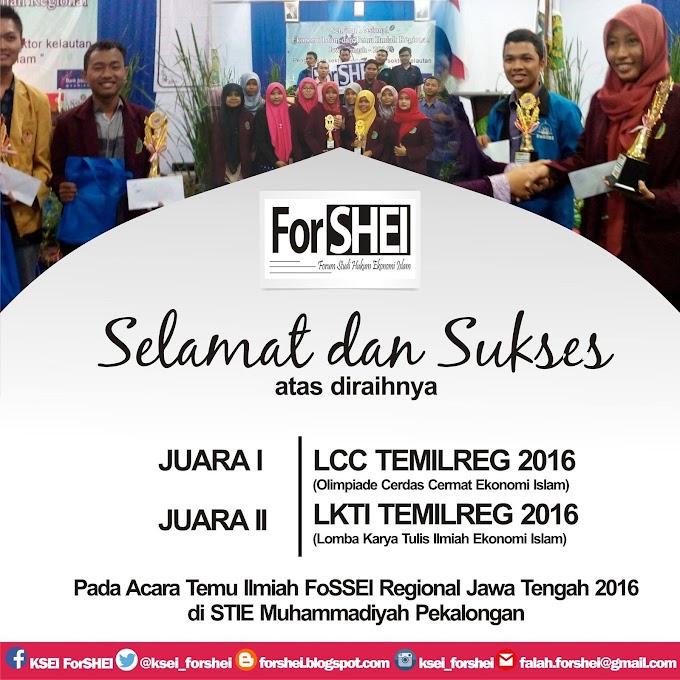 ForSHEI Juarai Lomba Olimpiade Ekonomi Islam dan Runner Up Paper Terbaik TEMILREG 2016