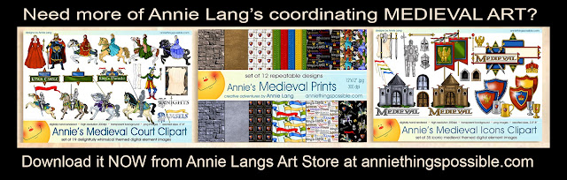 Make your own invitations and flyers downloading Annie Lang's Medieval Clipart