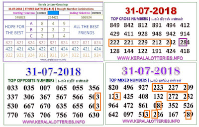 STHREE SAKTHI abc numbers kerala lottery guessing by keralalotteries ON 31-07-2018