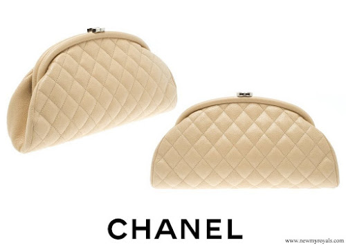 Crown Princess Victoria carries Chanel Beige Quilted Caviar Leather Timeless Clutch