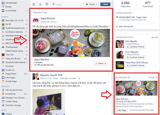 Hình thức quảng cáo Facebook Page Like