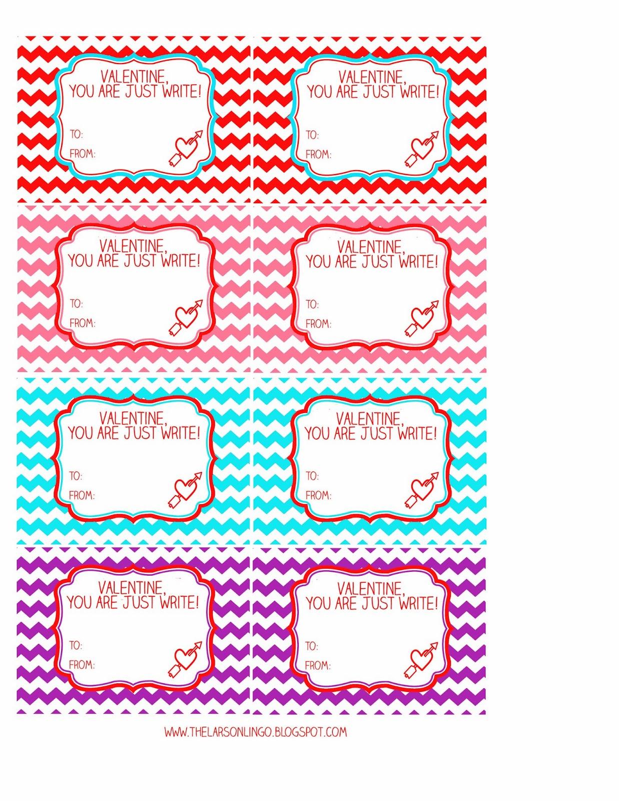 The Larson Lingo You Ve Got The Write Stuff Valentine Free Printable