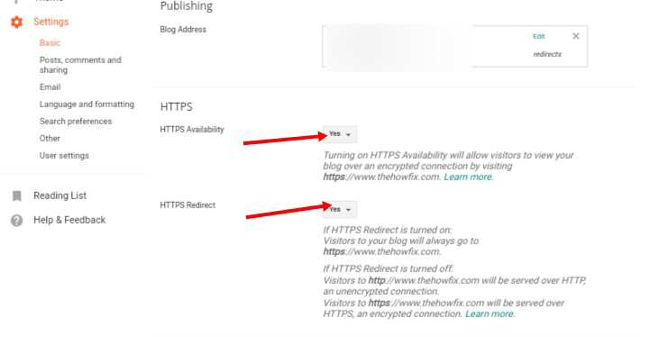 Enable https on blogger blog