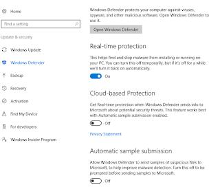 Kontrol Panel Windows Defender
