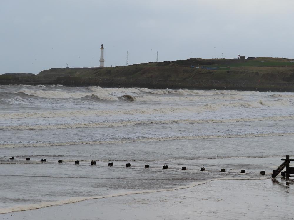 Aberdeen beach in cold, windy weather