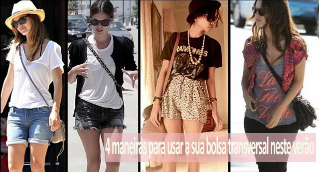 Modelos, fashionistas e celebridades usando bolsa transversal.
