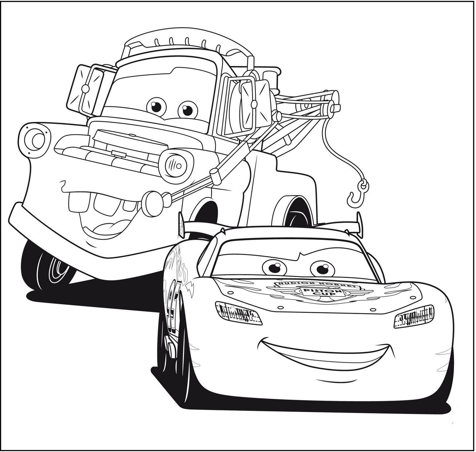 Desenho do filme Carros para colorir