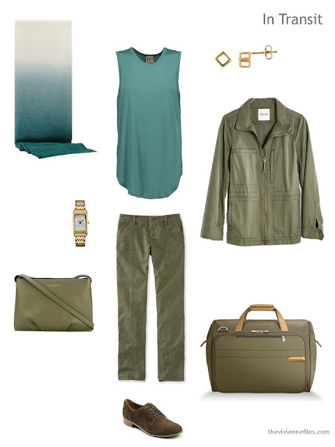 travel outfit in teal and olive green