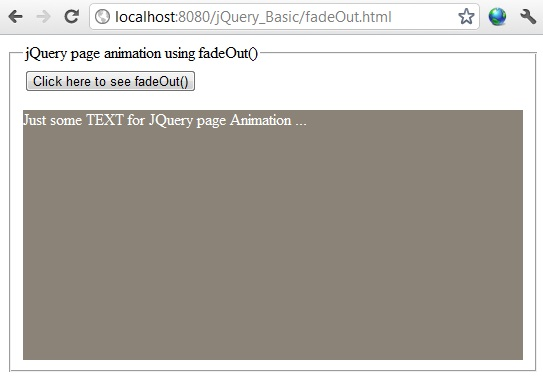 jQuery fadeOut() example