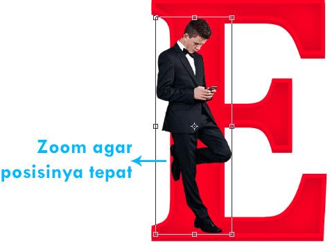 Merubah ukuran gambar dan posisi penempatannya pada sudut kiri huruf