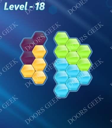 Block! Hexa Puzzle [Rainbow A] Level 18 Solution, Cheats, Walkthrough for android, iphone, ipad, ipod