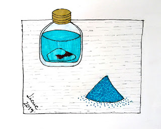 Glass bottle with water and copper sulfate illustration