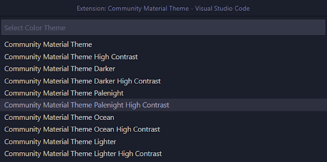 Community Material Theme List
