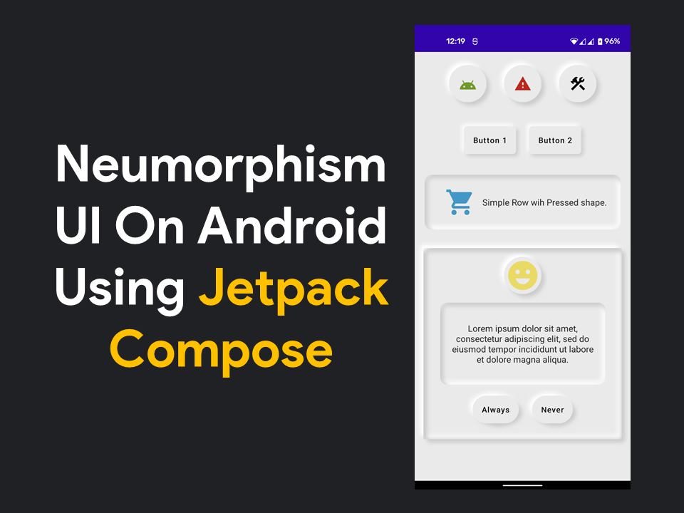 Neumorphism UI using Jetpack Compose on Android