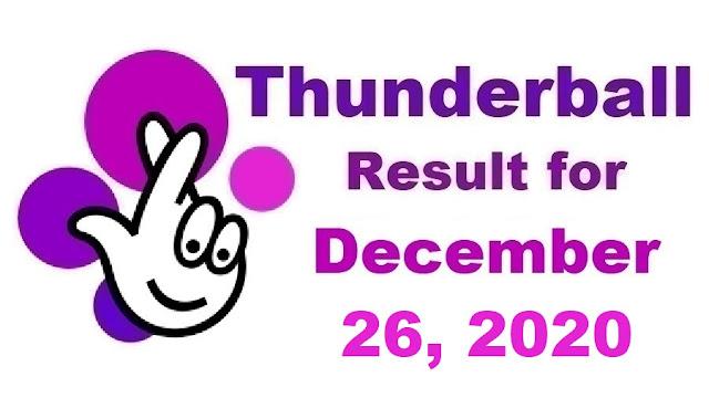Thunderball Results for Saturday, December 26, 2020