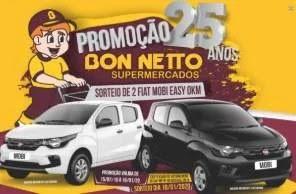 Promoção Bon-Netto Supermercados 25 Anos Aniversário 2019 - 2 Carros 0KM